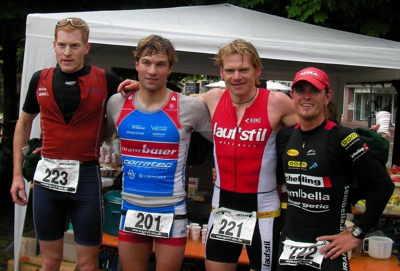 TriathlonGemünden07_Sieger_Henneberger(2)Nordmeyer(1)Diekow(3)Vonach(4)von links